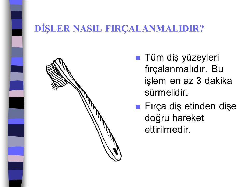 DİŞ BAKIMI n Herkesin kendine özel diş fırçası olmalıdır. n Fırçada kıl demetleri açıldığında veya döküldüğünde fırça bozulmuş demektir.