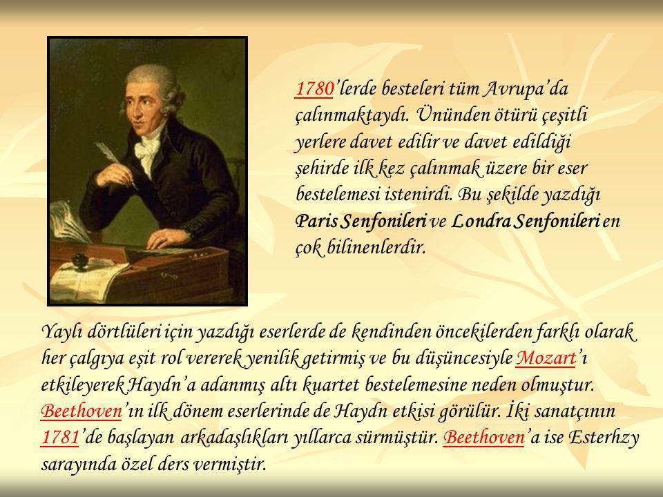 17801780'lerde besteleri tüm Avrupa'da çalınmaktaydı. Ününden ötürü çeşitli yerlere davet edilir ve davet edildiği şehirde ilk kez çalınmak üzere bir