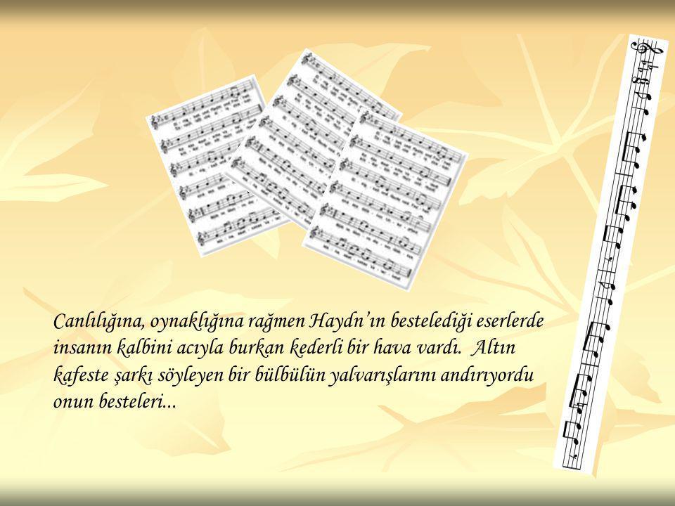 Canlılığına, oynaklığına rağmen Haydn'ın bestelediği eserlerde insanın kalbini acıyla burkan kederli bir hava vardı. Altın kafeste şarkı söyleyen bir