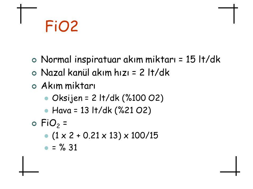 FiO2 Normal inspiratuar akım miktarı = 15 lt/dk Nazal kanül akım hızı = 2 lt/dk Akım miktarı  Oksijen = 2 lt/dk (%100 O2)  Hava = 13 lt/dk (%21 O2)