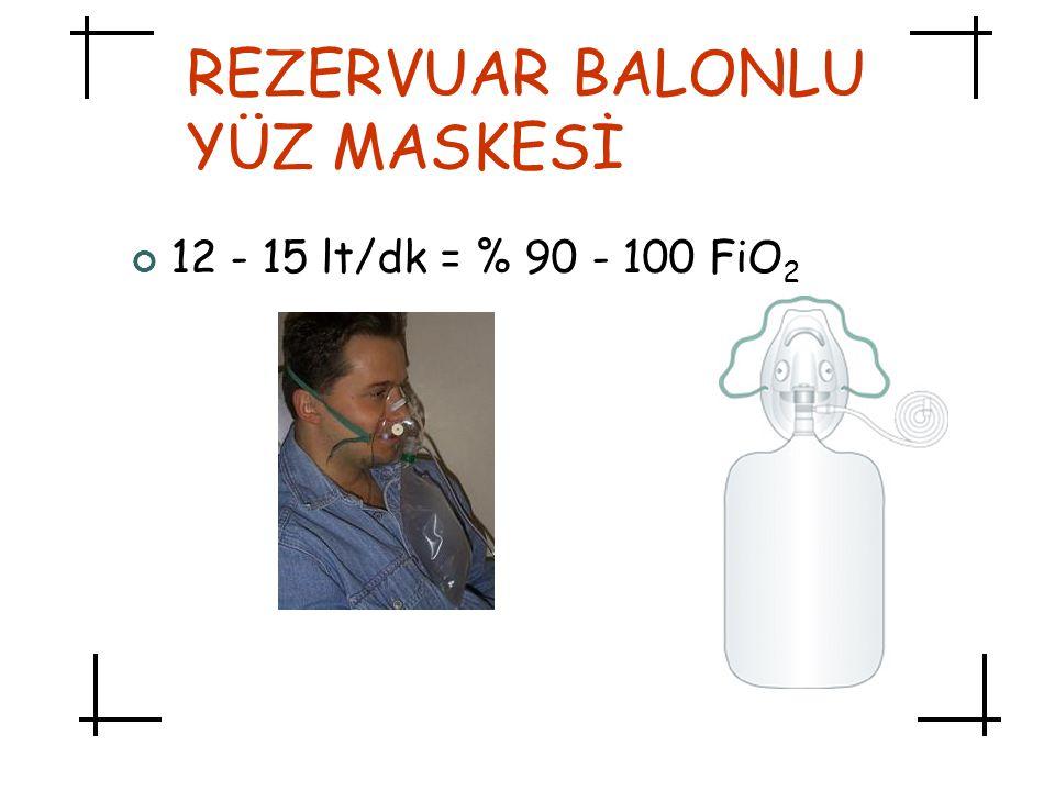 REZERVUAR BALONLU YÜZ MASKESİ 12 - 15 lt/dk = % 90 - 100 FiO 2
