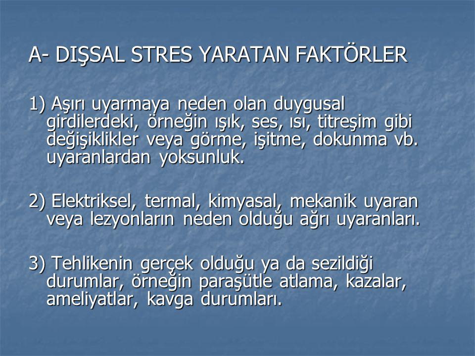 A- DIŞSAL STRES YARATAN FAKTÖRLER 1) Aşırı uyarmaya neden olan duygusal girdilerdeki, örneğin ışık, ses, ısı, titreşim gibi değişiklikler veya görme,