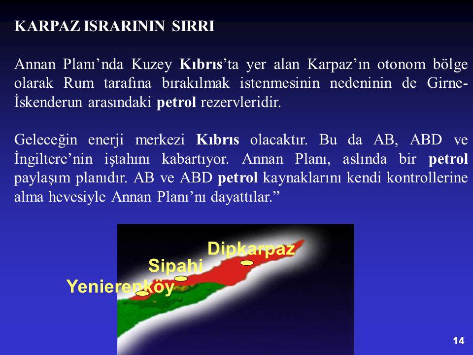 14 Yenierenköy Sipahi Dipkarpaz KARPAZ ISRARININ SIRRI Annan Planı'nda Kuzey Kıbrıs'ta yer alan Karpaz'ın otonom bölge olarak Rum tarafına bırakılmak