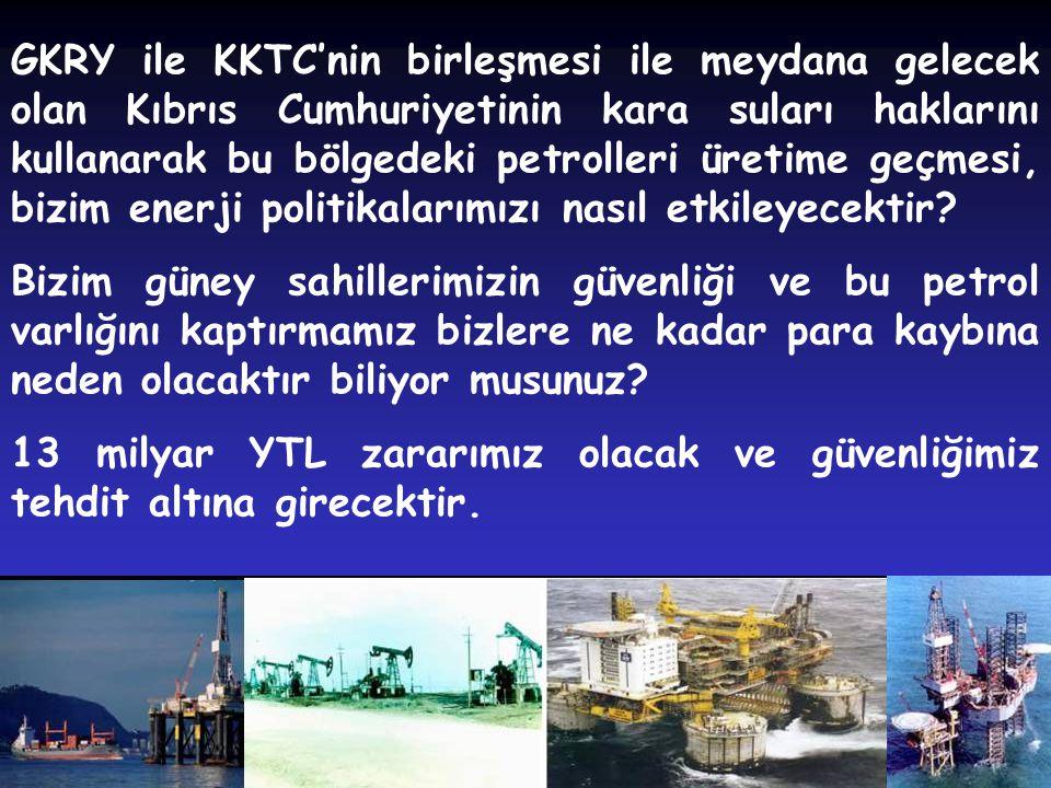 22 GKRY ile KKTC'nin birleşmesi ile meydana gelecek olan Kıbrıs Cumhuriyetinin kara suları haklarını kullanarak bu bölgedeki petrolleri üretime geçmes