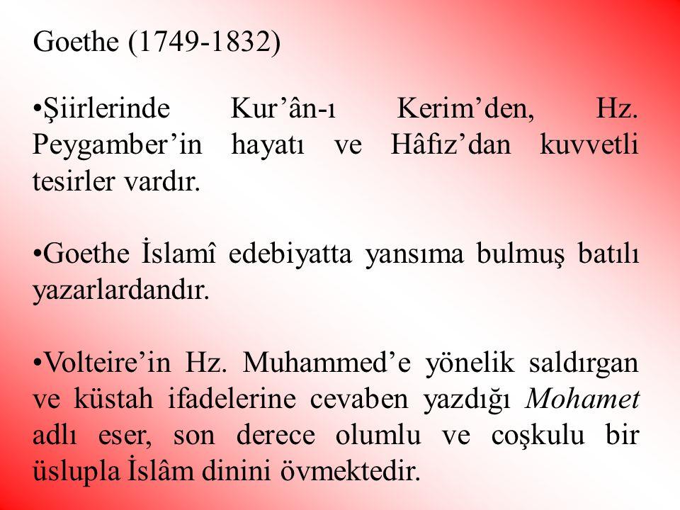 •Şiirlerinde Kur'ân-ı Kerim'den, Hz. Peygamber'in hayatı ve Hâfız'dan kuvvetli tesirler vardır. •Goethe İslamî edebiyatta yansıma bulmuş batılı yazarl