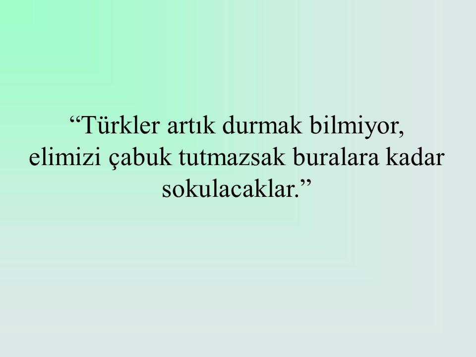"""""""Türkler artık durmak bilmiyor, elimizi çabuk tutmazsak buralara kadar sokulacaklar."""""""