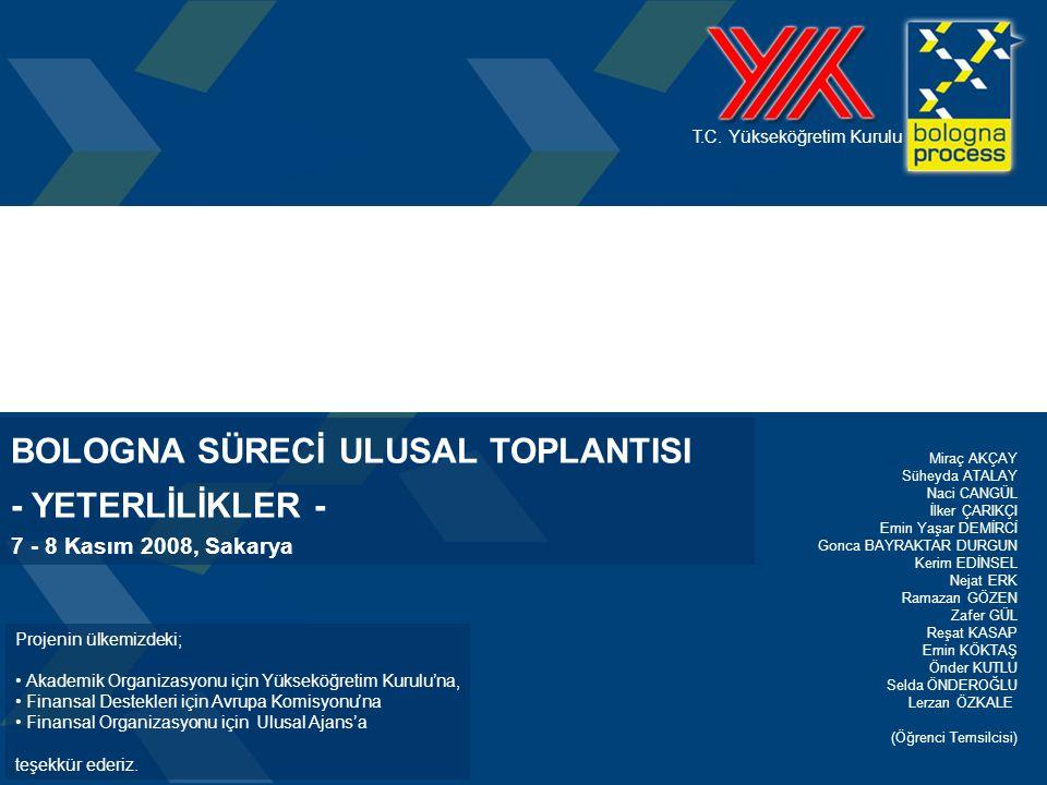 1 T.C. Yükseköğretim Kurulu Projenin ülkemizdeki; • Akademik Organizasyonu için Yükseköğretim Kurulu'na, • Finansal Destekleri için Avrupa Komisyonu'n