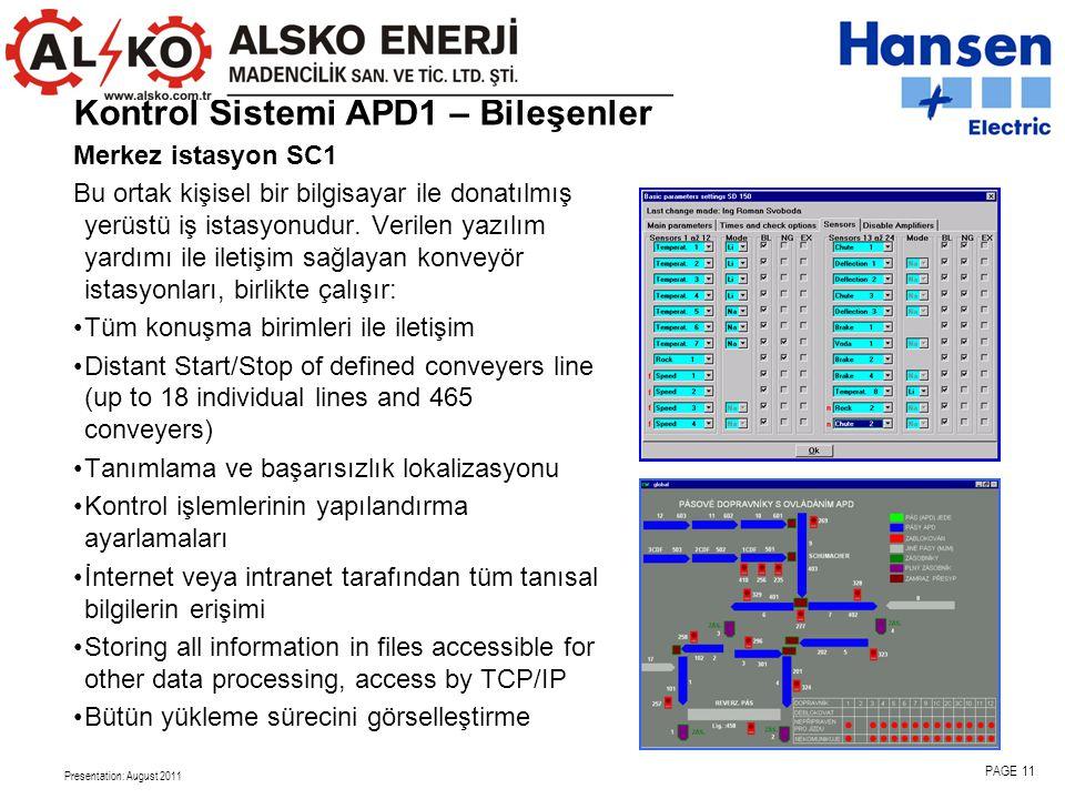 Presentation: August 2011 PAGE 11 Kontrol Sistemi APD1 – Bileşenler Merkez istasyon SC1 Bu ortak kişisel bir bilgisayar ile donatılmış yerüstü iş istasyonudur.