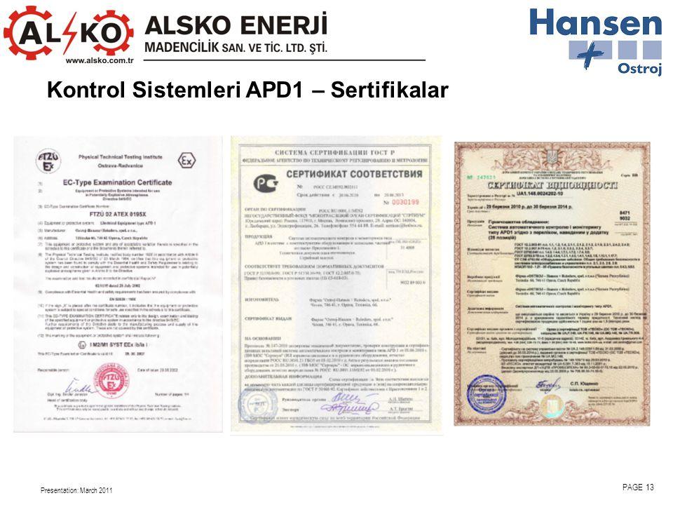 Presentation: March 2011 PAGE 13 Kontrol Sistemleri APD1 – Sertifikalar