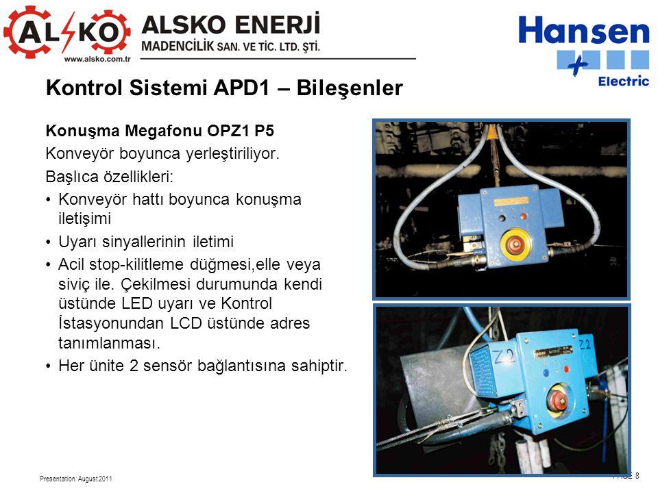Presentation: August 2011 PAGE 8 Konuşma Megafonu OPZ1 P5 Konveyör boyunca yerleştiriliyor.