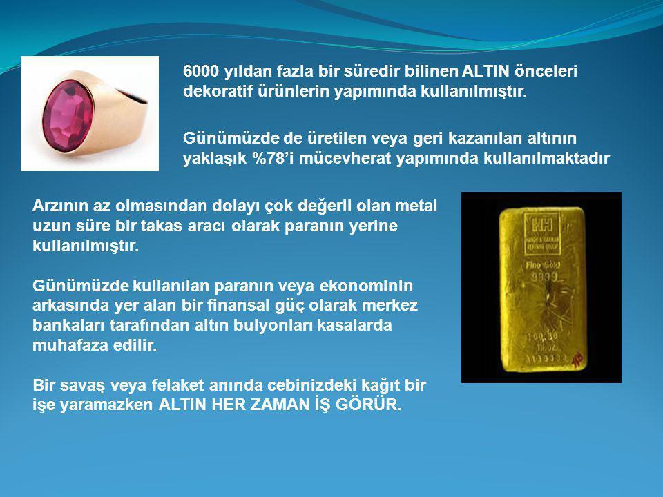 6000 yıldan fazla bir süredir bilinen ALTIN önceleri dekoratif ürünlerin yapımında kullanılmıştır.