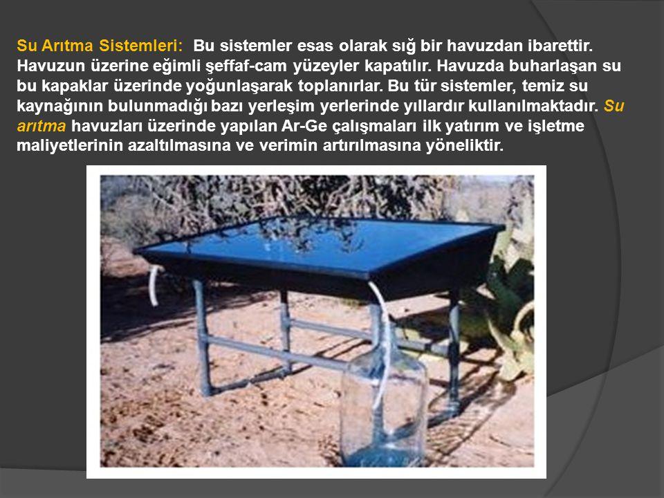 Su Arıtma Sistemleri: Bu sistemler esas olarak sığ bir havuzdan ibarettir. Havuzun üzerine eğimli şeffaf-cam yüzeyler kapatılır. Havuzda buharlaşan su