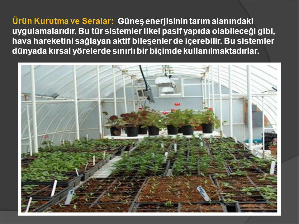 Ürün Kurutma ve Seralar: Güneş enerjisinin tarım alanındaki uygulamalarıdır. Bu tür sistemler ilkel pasif yapıda olabileceği gibi, hava hareketini sağ