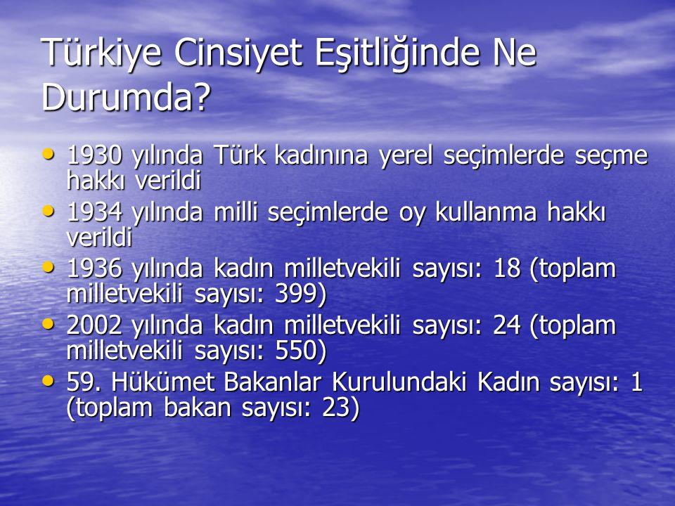 Türkiye Cinsiyet Eşitliğinde Ne Durumda.