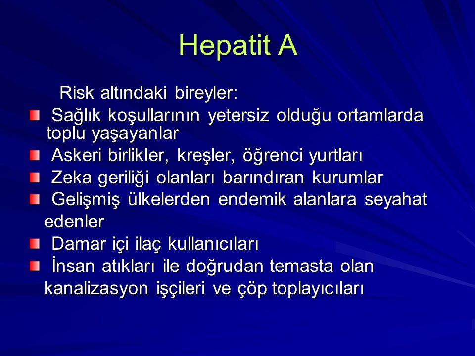 Hepatit A Risk altındaki bireyler: Risk altındaki bireyler: Sağlık koşullarının yetersiz olduğu ortamlarda toplu yaşayanlar Sağlık koşullarının yeters