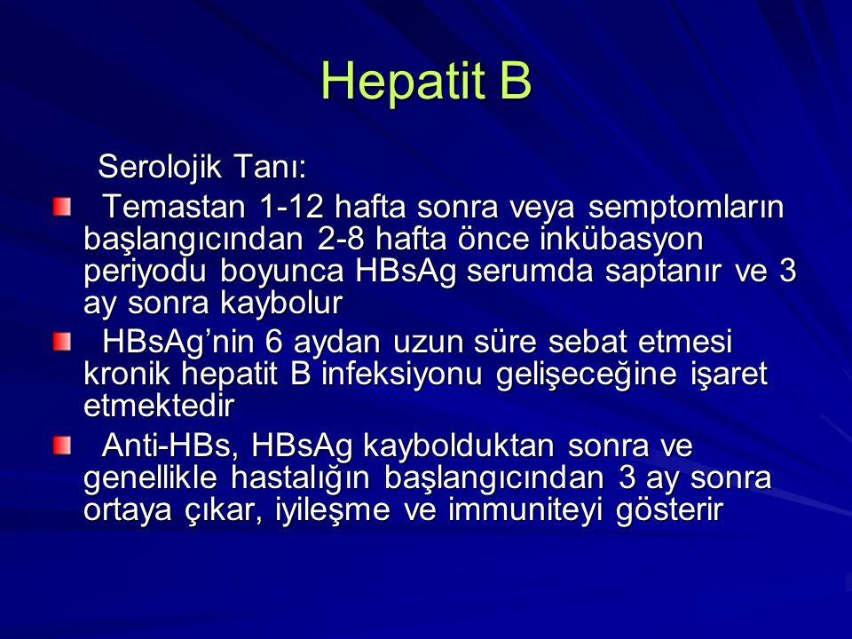 Hepatit B Serolojik Tanı: Serolojik Tanı: Temastan 1-12 hafta sonra veya semptomların başlangıcından 2-8 hafta önce inkübasyon periyodu boyunca HBsAg