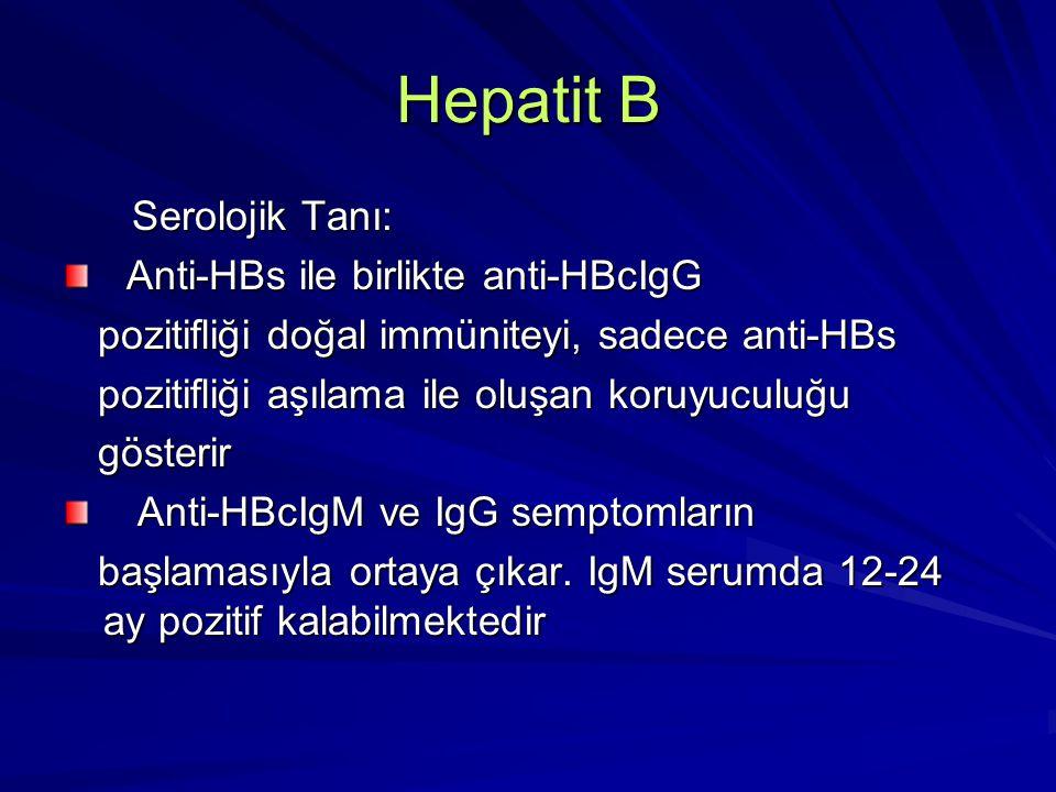 Hepatit B Serolojik Tanı: Serolojik Tanı: Anti-HBs ile birlikte anti-HBcIgG Anti-HBs ile birlikte anti-HBcIgG pozitifliği doğal immüniteyi, sadece ant