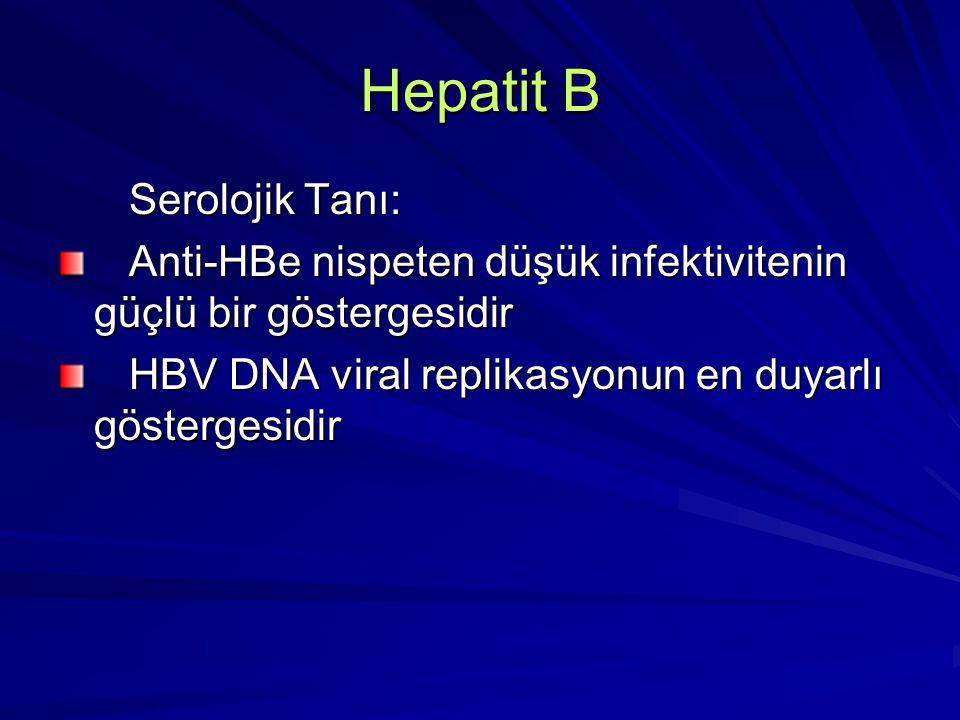 Hepatit B Serolojik Tanı: Serolojik Tanı: Anti-HBe nispeten düşük infektivitenin güçlü bir göstergesidir Anti-HBe nispeten düşük infektivitenin güçlü