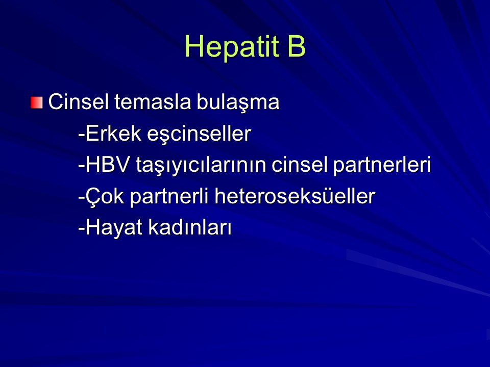 Hepatit B Cinsel temasla bulaşma -Erkek eşcinseller -Erkek eşcinseller -HBV taşıyıcılarının cinsel partnerleri -HBV taşıyıcılarının cinsel partnerleri