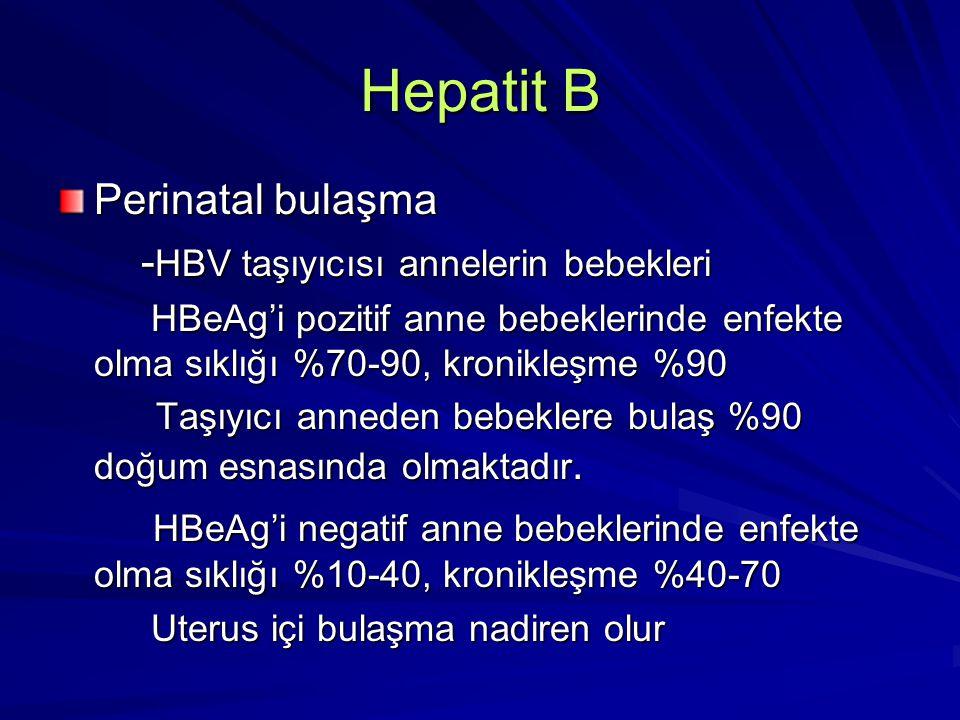 Hepatit B Perinatal bulaşma - HBV taşıyıcısı annelerin bebekleri - HBV taşıyıcısı annelerin bebekleri HBeAg'i pozitif anne bebeklerinde enfekte olma s