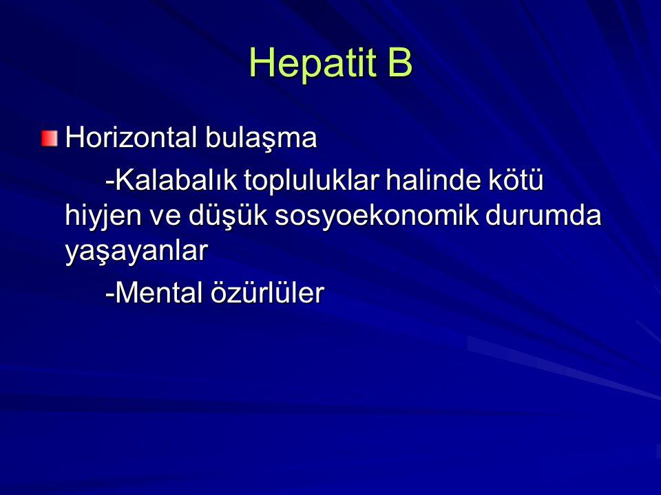 Hepatit B Horizontal bulaşma -Kalabalık topluluklar halinde kötü hiyjen ve düşük sosyoekonomik durumda yaşayanlar -Kalabalık topluluklar halinde kötü