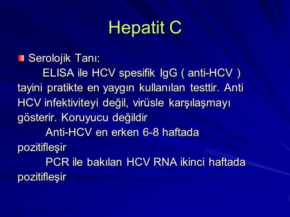 Hepatit C Serolojik Tanı: ELISA ile HCV spesifik IgG ( anti-HCV ) ELISA ile HCV spesifik IgG ( anti-HCV ) tayini pratikte en yaygın kullanılan testtir