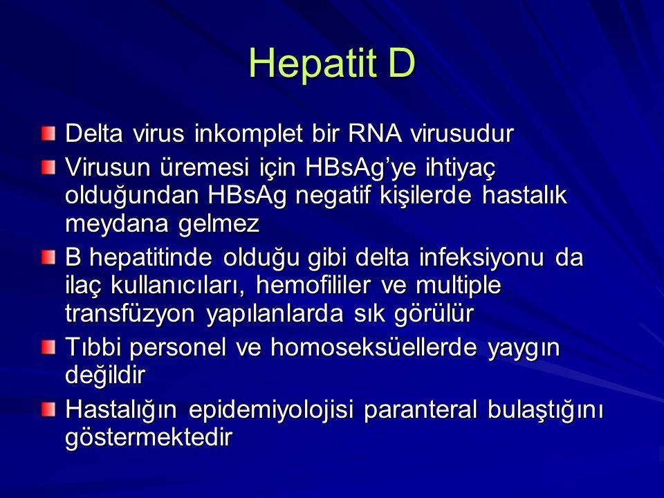 Hepatit D Delta virus inkomplet bir RNA virusudur Virusun üremesi için HBsAg'ye ihtiyaç olduğundan HBsAg negatif kişilerde hastalık meydana gelmez B h
