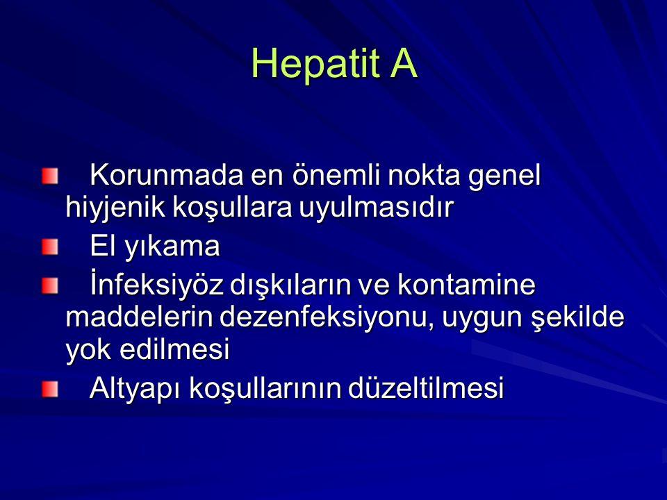 Hepatit A Korunmada en önemli nokta genel hiyjenik koşullara uyulmasıdır Korunmada en önemli nokta genel hiyjenik koşullara uyulmasıdır El yıkama El y