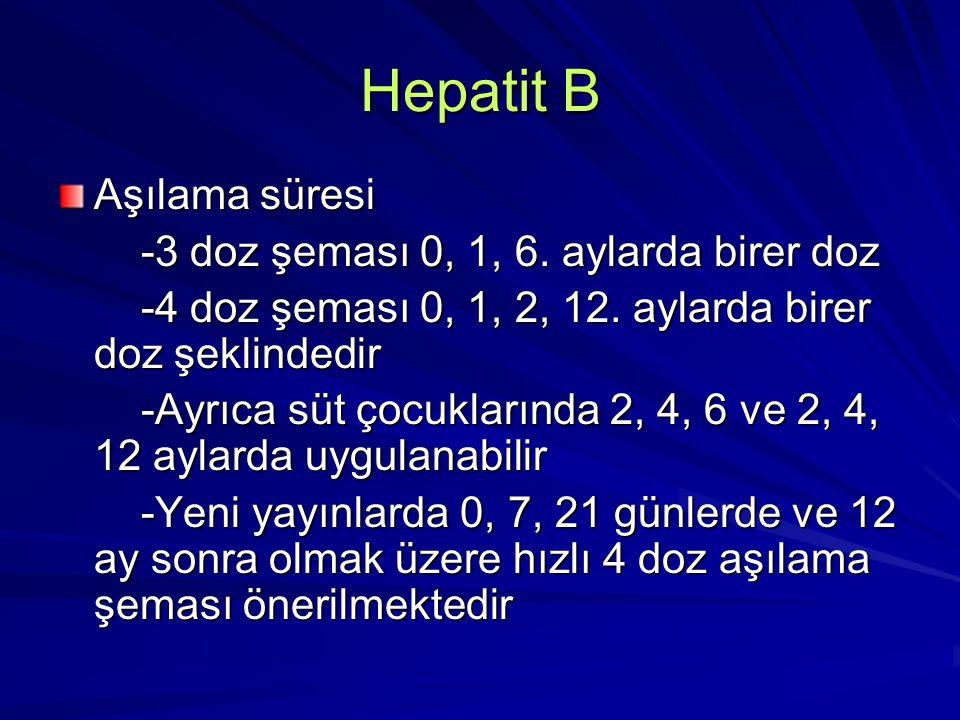 Hepatit B Aşılama süresi -3 doz şeması 0, 1, 6. aylarda birer doz -3 doz şeması 0, 1, 6. aylarda birer doz -4 doz şeması 0, 1, 2, 12. aylarda birer do