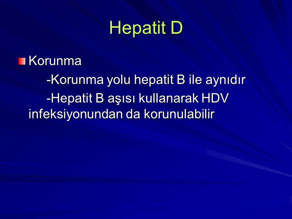 Hepatit D Korunma -Korunma yolu hepatit B ile aynıdır -Korunma yolu hepatit B ile aynıdır -Hepatit B aşısı kullanarak HDV infeksiyonundan da korunulab