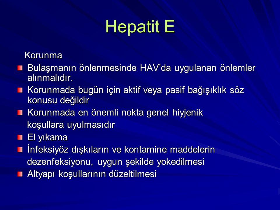 Hepatit E Korunma Korunma Bulaşmanın önlenmesinde HAV'da uygulanan önlemler alınmalıdır. Korunmada bugün için aktif veya pasif bağışıklık söz konusu d
