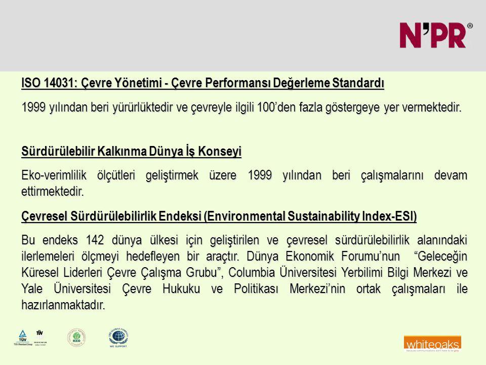 ISO 14031: Çevre Yönetimi - Çevre Performansı Değerleme Standardı 1999 yılından beri yürürlüktedir ve çevreyle ilgili 100'den fazla göstergeye yer ver
