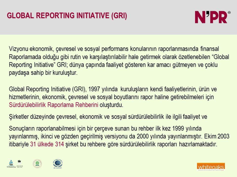 GLOBAL REPORTING INITIATIVE (GRI) Vizyonu ekonomik, çevresel ve sosyal performans konularının raporlanmasında finansal Raporlamada olduğu gibi rutin v