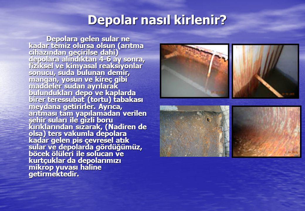 Depolar nasıl kirlenir? Depolar nasıl kirlenir? Depolara gelen sular ne kadar temiz olursa olsun (arıtma cihazından geçirilse dahi) depolara alındıkta