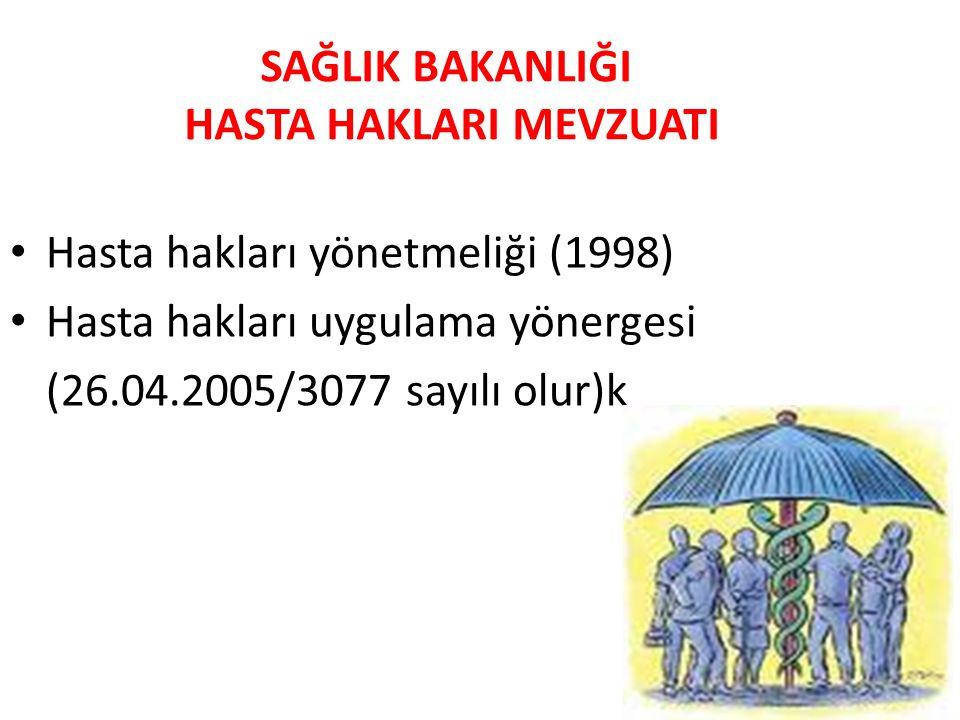 SAĞLIK BAKANLIĞI HASTA HAKLARI MEVZUATI • Hasta hakları yönetmeliği (1998) • Hasta hakları uygulama yönergesi (26.04.2005/3077 sayılı olur)k