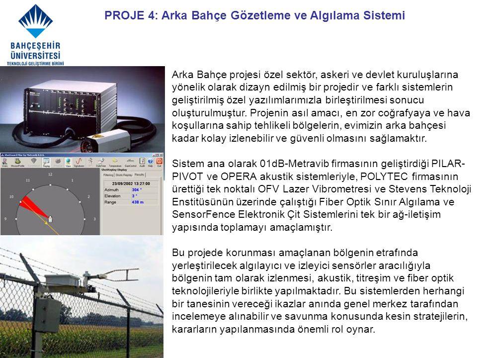 PROJE 4: Arka Bahçe Gözetleme ve Algılama Sistemi Arka Bahçe projesi özel sektör, askeri ve devlet kuruluşlarına yönelik olarak dizayn edilmiş bir pro