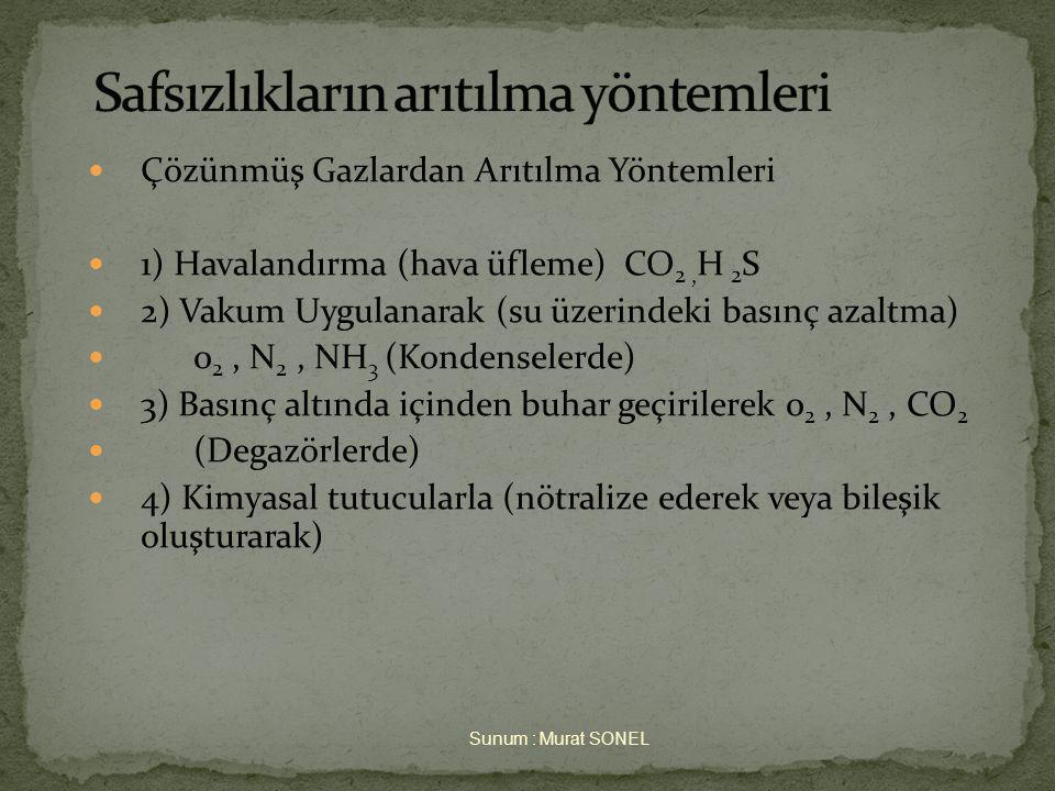  Çözünmüş Gazlardan Arıtılma Yöntemleri  1) Havalandırma (hava üfleme) CO 2, H 2 S  2) Vakum Uygulanarak (su üzerindeki basınç azaltma)  0 2, N 2, NH 3 (Kondenselerde)  3) Basınç altında içinden buhar geçirilerek 0 2, N 2, CO 2  (Degazörlerde)  4) Kimyasal tutucularla (nötralize ederek veya bileşik oluşturarak) Sunum : Murat SONEL