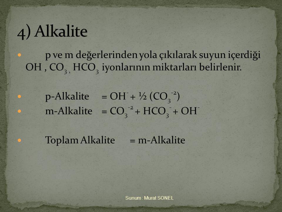  p ve m değerlerinden yola çıkılarak suyun içerdiği OH, CO 3, HCO 3 iyonlarının miktarları belirlenir.