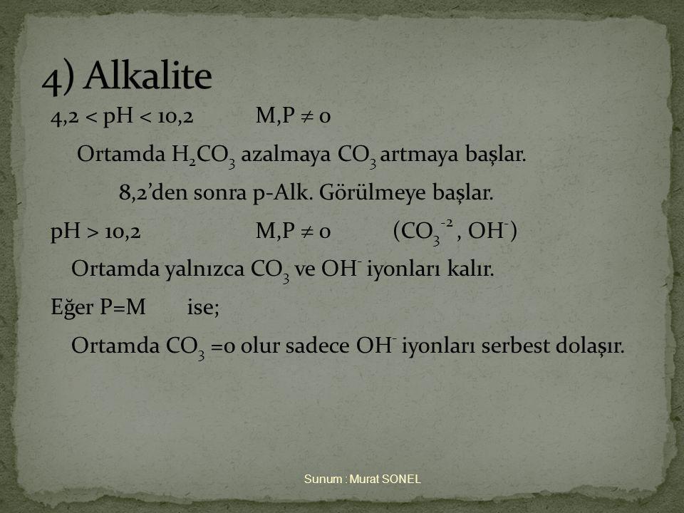4,2 < pH < 10,2M,P  0 Ortamda H 2 CO 3 azalmaya CO 3 artmaya başlar.