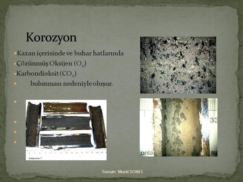  Kazan içerisinde ve buhar hatlarında  Çözünmüş Oksijen (O 2 )  Karbondioksit (CO 2 )  bulunması nedeniyle oluşur.