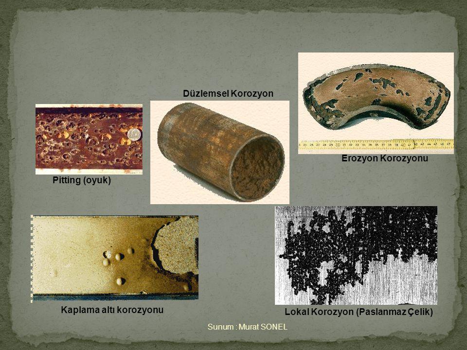 Sunum : Murat SONEL Pitting (oyuk) Kaplama altı korozyonu Lokal Korozyon (Paslanmaz Çelik) Erozyon Korozyonu Düzlemsel Korozyon