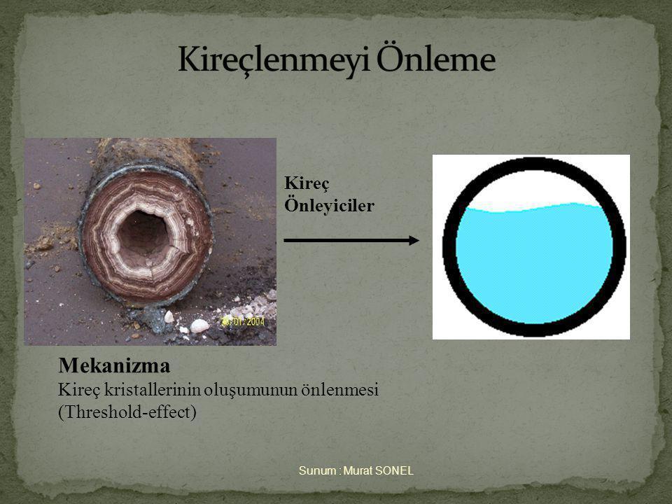 Sunum : Murat SONEL Kireç Önleyiciler Mekanizma Kireç kristallerinin oluşumunun önlenmesi (Threshold-effect)