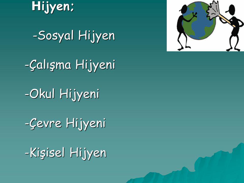 H ijyen; H ijyen; -Sosyal Hijyen -Sosyal Hijyen -Çalışma Hijyeni -Çalışma Hijyeni -Okul Hijyeni -Okul Hijyeni -Çevre Hijyeni -Çevre Hijyeni -Kişisel H