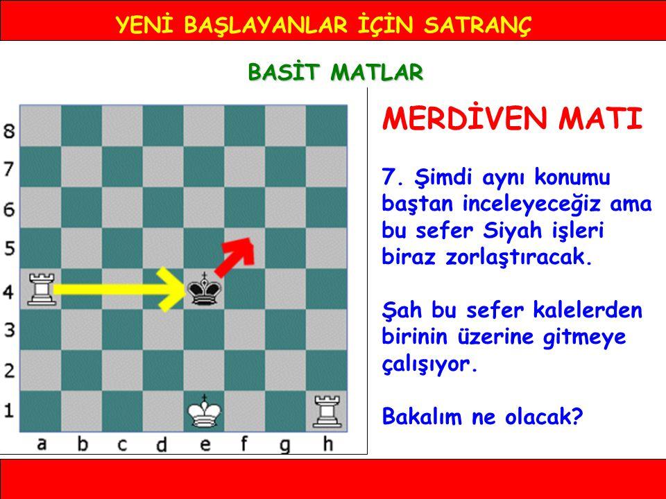 YENİ BAŞLAYANLAR İÇİN SATRANÇ BASİT MATLAR MERDİVEN MATI 7.