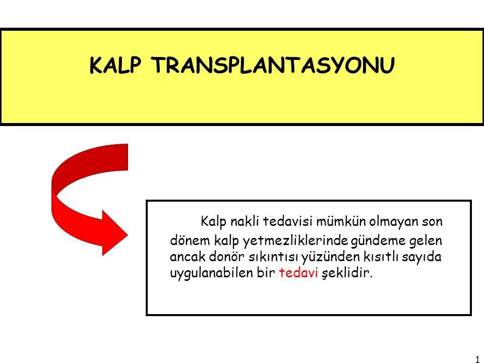 ÜLKEMİZDE; Kalp transplantasyonu yapılan merkez sayısı 10'u nakledilen hasta sayısı 200'ü aşmıştır.