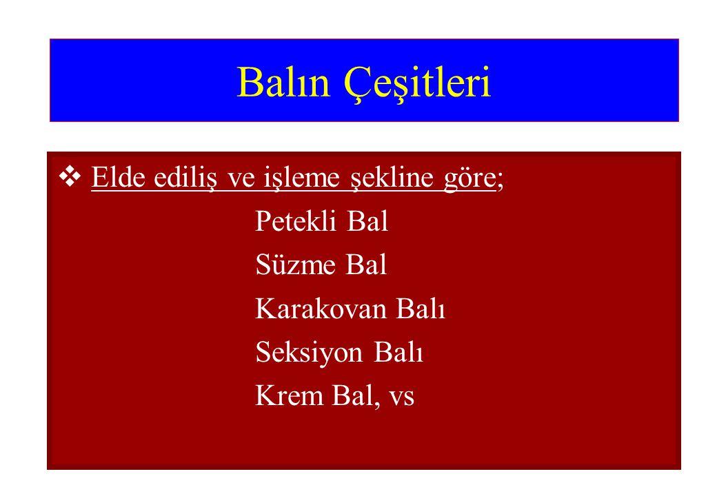 Balın Çeşitleri  Elde ediliş ve işleme şekline göre; Petekli Bal Süzme Bal Karakovan Balı Seksiyon Balı Krem Bal, vs