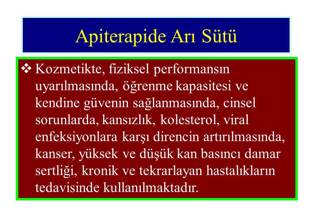 Apiterapide Arı Sütü  Kozmetikte, fiziksel performansın uyarılmasında, öğrenme kapasitesi ve kendine güvenin sağlanmasında, cinsel sorunlarda, kansız