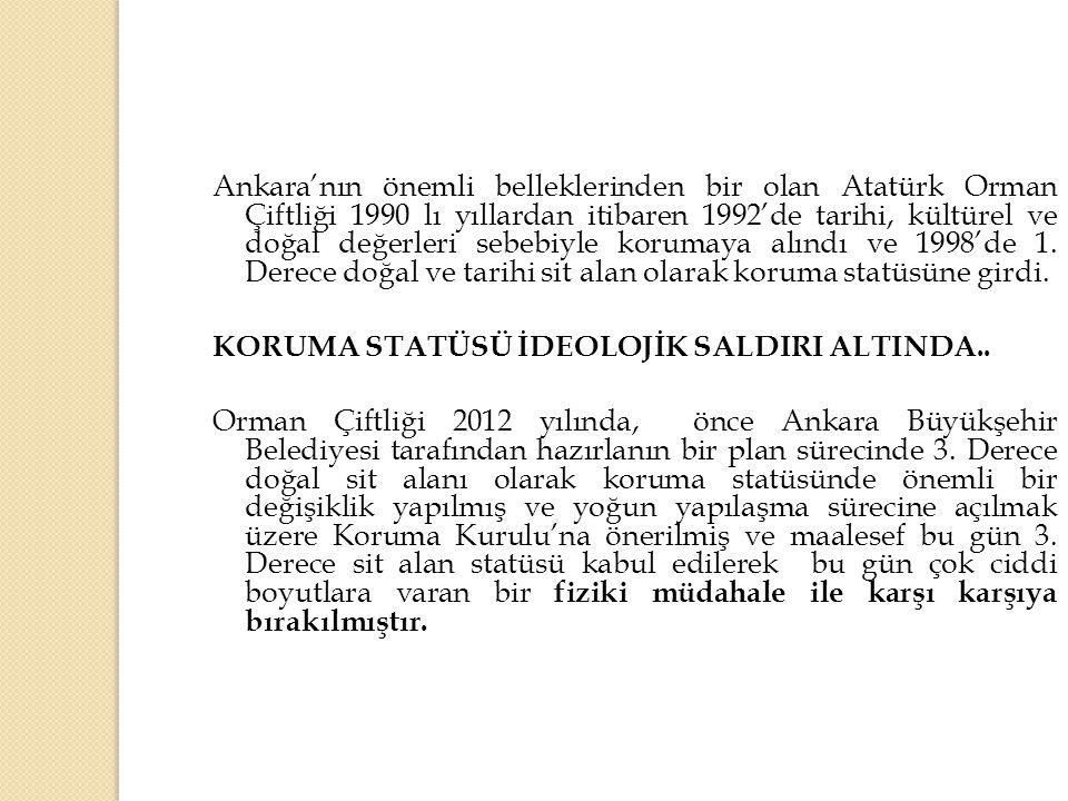Ankara'nın önemli belleklerinden bir olan Atatürk Orman Çiftliği 1990 lı yıllardan itibaren 1992'de tarihi, kültürel ve doğal değerleri sebebiyle koru