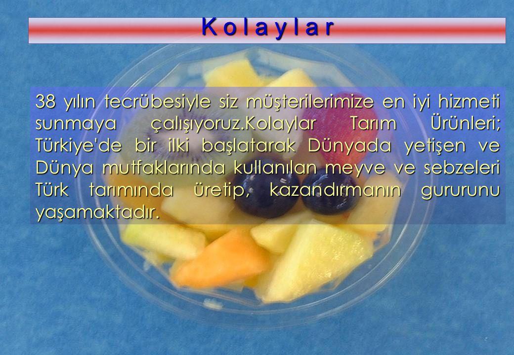 www.kolaylar.com K o l a y l a r 38 yılın tecrübesiyle siz müşterilerimize en iyi hizmeti sunmaya çalışıyoruz.Kolaylar Tarım Ürünleri; Türkiye'de bir