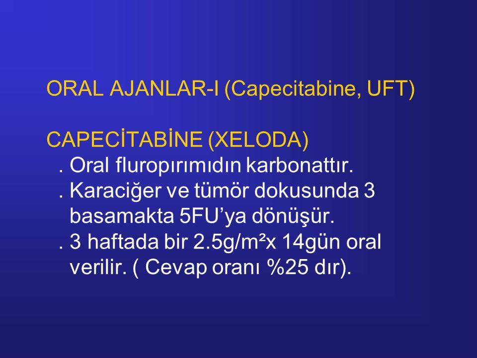 ORAL AJANLAR-I (Capecitabine, UFT) CAPECİTABİNE (XELODA). Oral fluropırımıdın karbonattır.. Karaciğer ve tümör dokusunda 3 basamakta 5FU'ya dönüşür..